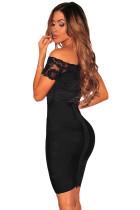 Black Lace off Shouldder Bodysuit