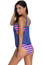 Farkut sininen kerroksittain Striped Tankini kolmikulmainen alushousut