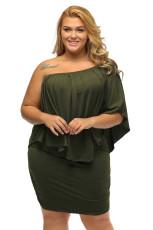 Plus velikost více oblečení vrstvené armády zelené mini pončo šaty