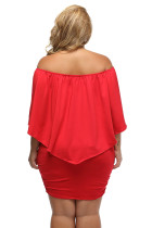 Plus Size Multiple Dressing Red Mini Poncho Dress Up