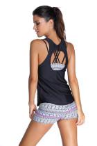 Grauer Sport-BH Tankini-Badeanzug mit schwarzer Weste