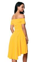 Κίτρινο όλο το φόρεμα πασιέντζα