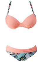 Szexi rózsaszín párnázott összegyűjti a push-up bikini készletet