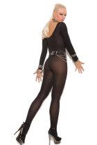 Siyah Foxy Babe Uzun Kollu Bodystocking