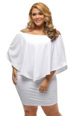 Plus velikost více oblečení vrstvené bílé Mini Poncho šaty