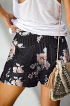 Musta kukkavedos kiristysnauha rento elastinen vyötärö taskuhousut