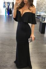 Schwarzes Rüschen aus Schulter Maxi Partykleid
