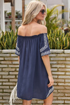 Bohemian Vibe Geometric Vytisknout Rameno Beach Dress