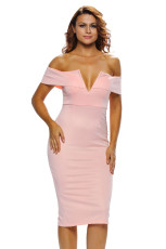 ピンクのオフショルダーミディアムドレス