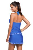 Neckholder-Träger-Skini-Badeanzug mit Kontraststreifen in Royal Blue