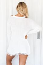 Vit V halsvaffel stickad tröja