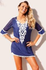Blue Crochet Pom Pom Trim Beach Tunika Cover ylös