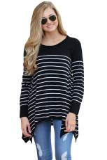 Musta raidallinen neulepusero villapaita
