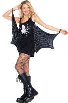 Fekete Jersey Dress Spiderweb Cosplay jelmez