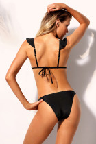 Black Ruffle V Neck Triangular Bikini 2pcs Swimsuit