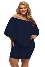 Plus velikost více oblečení vrstvené tmavě modré mini Poncho šaty