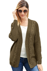 Taupe Chunky Wide Long Sleeve Knit Cardigan