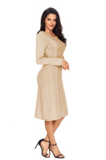 Khaki Womens Hand stickad tröja klänning