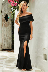 Fekete Off A váll egy ujjú Slit Maxi párt Prom Dress