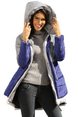 Grå Navy Colorblock 2-In-1 Look Quilted Jacket