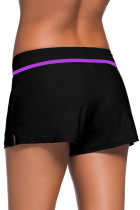 Violet Strap Trim Black Women Swim Boardshort