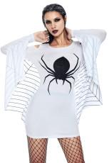 白いスパイダーウェブジャージーチュニックドレス