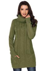 Olivový kryt krku kabel Knit Sweater šaty