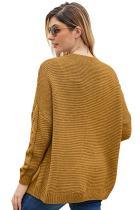 Khaki Chunky Wide Long Sleeve Knit Cardigan