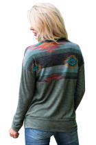 Sweat-shirt à imprimé aztèque et vert sauge