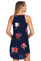 Ανθισμένο κόκκινο λουλούδι εκτύπωσης φόρεμα αμάνικο φόρεμα