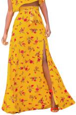Żółta, kwiecista spódnica Maxi ze szczeliną
