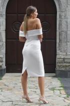 白オフショルダーミディアムドレス