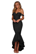 우아한 블랙 Strapless 레이스 Fishtail 이브닝 드레스