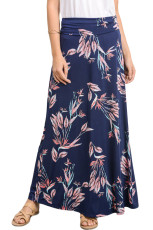 Granatowa, wibrująca, kwiecista sukienka w długiej spódnicy Maxi