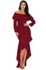 부르고뉴 랜턴 슬리브 비대칭 프릴 밑단의 이브닝 드레스