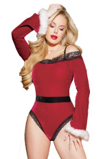 Sexy Black Red Velvet Santa Teddy
