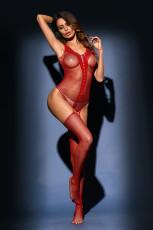Kırmızı Teddy ve Jartiyer Stocking Tek parça Lingerie
