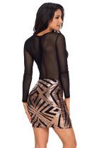 Black Sheer Mesh Long Sleeve Champagne Club Dress
