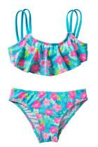 Girls 'Ruffle Flower Print Dua Piece Swimsuit Set