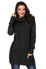 Černá kabelka krku kabel Knit Sweater šaty