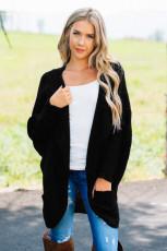 Černý Dolman Sleeve Knit Cardigan s kapsou