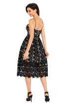 Black Lace Hollow Out Bikini Party Dress