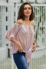Blusa a strisce verticali Off The Shoulder in rosa