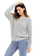 Szürke Kereszt Hátsó Üreges pulóver