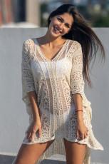 Kayısı Tığ Örme Püskül Kravat Kimono Beachwear