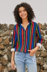 여러 가지 빛깔의 줄무늬 현대 여성 셔츠