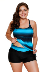 Bluish Strappy Hollow-out Back Plus Size Tankini