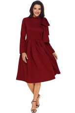 Μπούρντον Bowknot Διακοσμημένο Mock Ροζ τσέπη φόρεμα