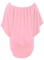 Plus velikost více oblečení vrstvené růžové mini Poncho šaty