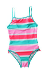 Neon Multicolor Striped Ruffle Potong Girls 'Teddy Swimsuit